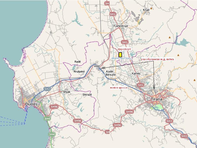 карта: Тирана, Дуррес и окрестности