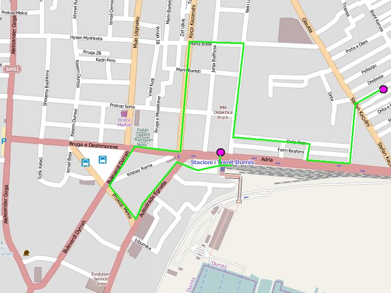 Дуррес: план города в районе вокзала