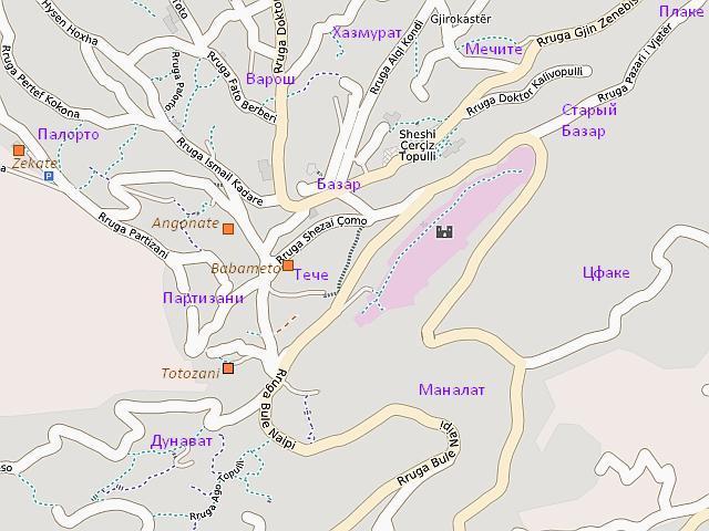 Гирокастра: картосхема исторических районов
