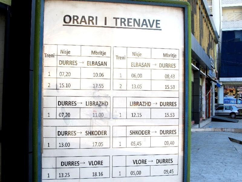 расписание движения пассажирских поездов по станции Дуррес