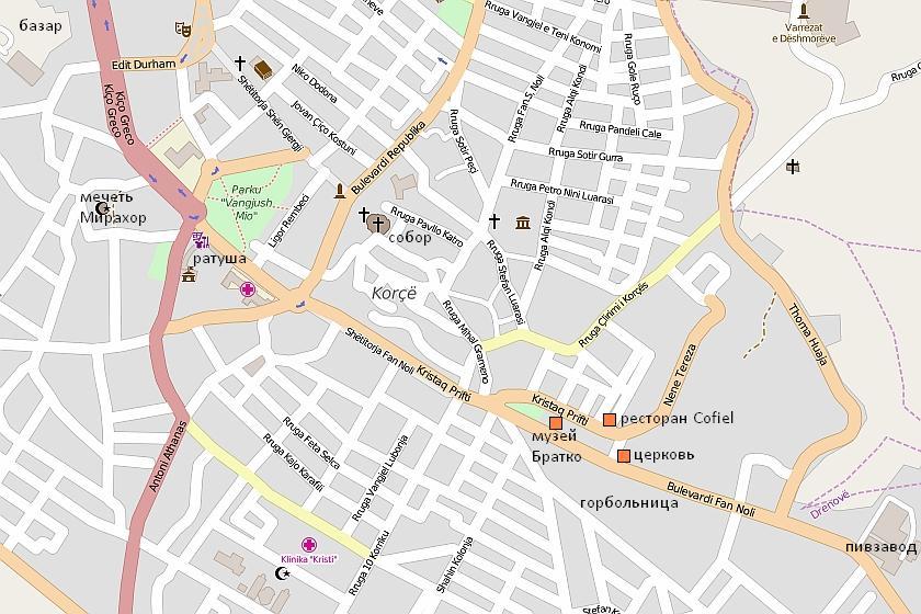 Корча: план центральной части