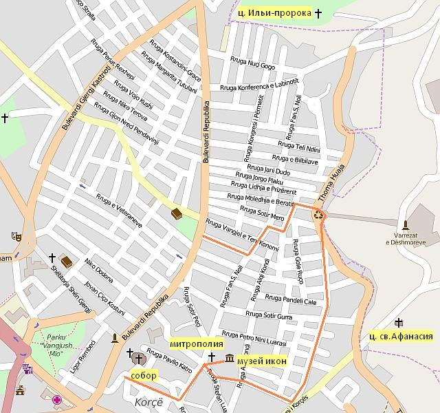Корча: карта исторических кварталов (район Варош)