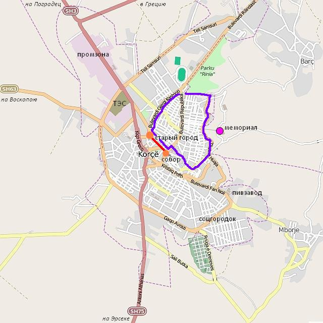 Корча: картосхема города и окрестностей