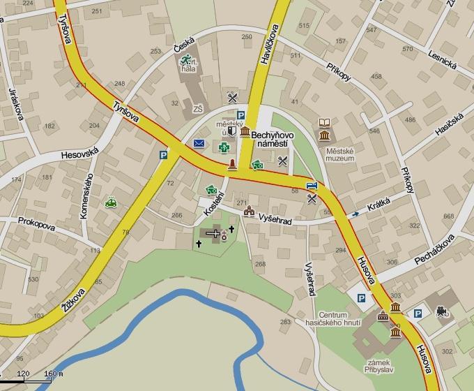 Пшибыслав: план города