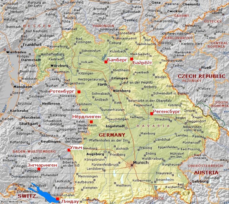 карта Баварии