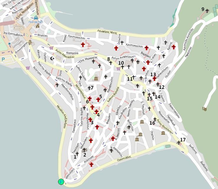 Кастория: церкви на карте города