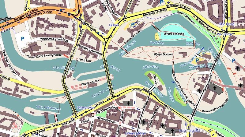 Вроцлав: план города (набережные)