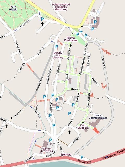 Сандомир: план города