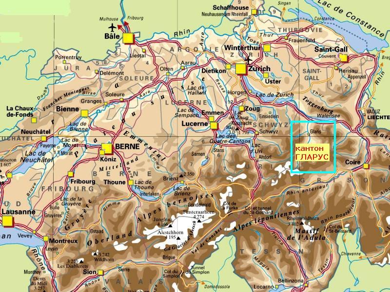 кантон Гларус на физической карте