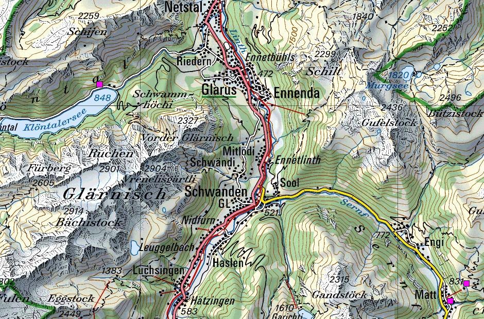 кантон Гларус на топографической карте