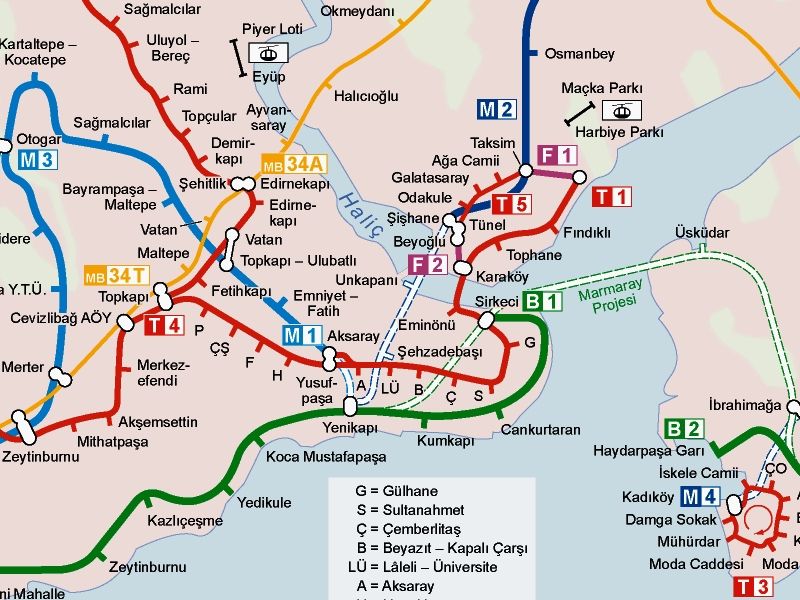 Стамбул: схема трамвайных