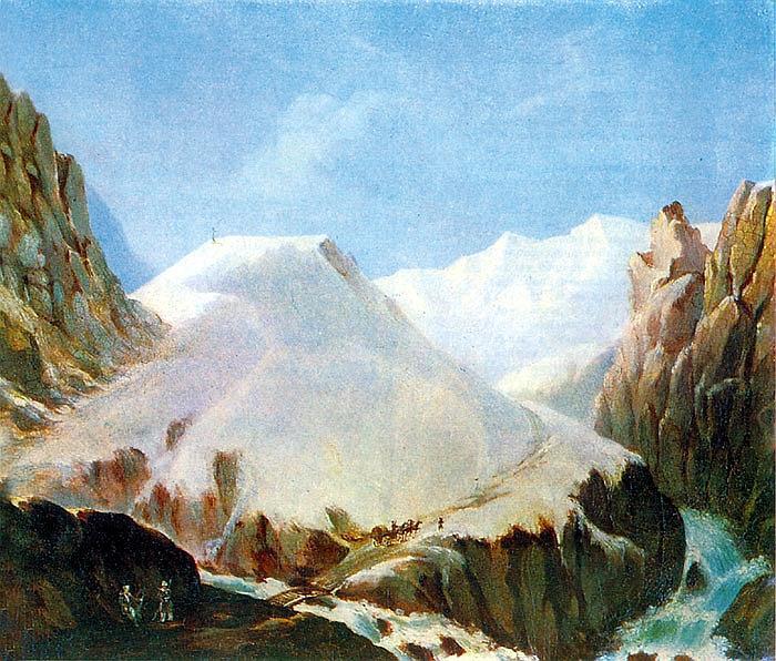 Михаил Лермонтов: Вид Крестовой горы из ущелья близ Коби